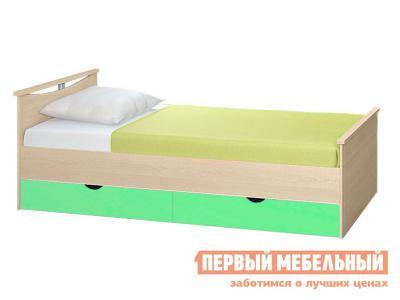 Детская кровать  Мелисса с выдвижными ящиками Корпус Шимо светлый / Фасад Салатовый, Спальное место 900 Х 2000 мм Боровичи. Цвет: зеленый