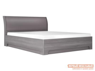Двуспальная кровать  Парма Нео 3 Лиственница темная / Экокожа дила, 1800 Х 2000 мм, С подъемным механизмом КУРАЖ. Цвет: серый