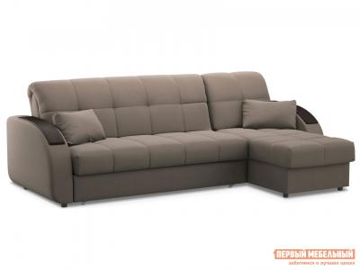 Угловой диван  Уильям с оттоманкой / Люкс Латте, велюр , 160х200 см, Независимый пружинный блок Живые диваны. Цвет: бежевый