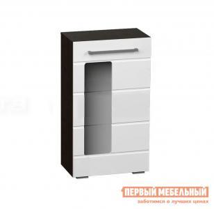 Шкаф-витрина  Пенал Милан Венге / Белый глянец BTS. Цвет: черно-белый
