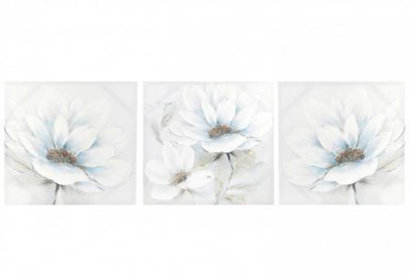 Модульная картина из 3 частей Серебряный цветок Hoff