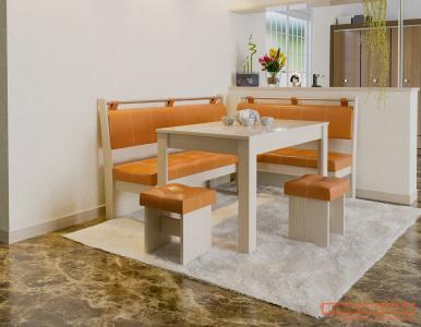 Кухонный уголок  Остин Дуб Белфорт, Оранжевый, экокожа ЭтоМебель. Цвет: оранжевый