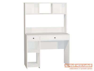 Компьютерный стол  Комфорт 12.77 Белый, текстура дерева Моби. Цвет: белый