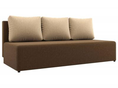Прямой диван  Нексус Коричневый / Бежевый, микровелюр Столлайн. Цвет: коричневый
