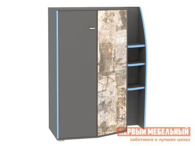 Детский шкаф  2-х створчатый Индиго малый 10.20 Тёмно-серый / Граффити Моби. Цвет: серый