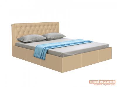 Двуспальная кровать  с подъемным механизмом Моника Бежевый, экокожа, 1800 Х 2000 мм Первый Мебельный. Цвет: бежевый