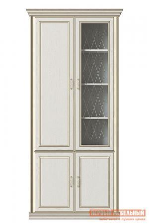 Шкаф-витрина  Шкаф 4-х дверный (1 стеклодверь) Венето Дуб молочный КУРАЖ. Цвет: светлое дерево