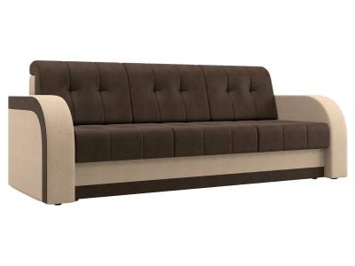 Прямой диван  Риккардо Бежевый / Коричневый, велюр Столлайн. Цвет: коричневый