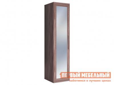 Распашной шкаф  Шкаф-пенал с зеркалом Парма Ясень Шимо темный КУРАЖ. Цвет: темное-cветлое дерево