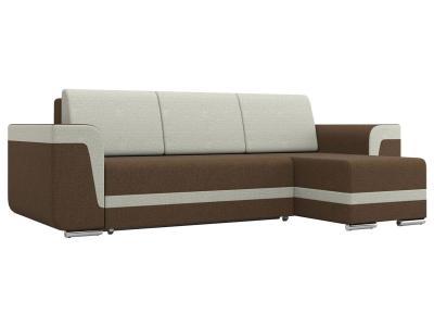 Угловой диван  Рико Коричневый / Бежевый, рогожка Столлайн. Цвет: коричневый