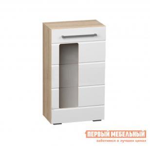 Шкаф-витрина  Пенал Милан Дуб сонома / Белый глянец BTS. Цвет: белый
