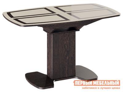 Кухонный стол  Монако Венге / Стекло бежевое с рисунком, Большой ТриЯ. Цвет: коричневый