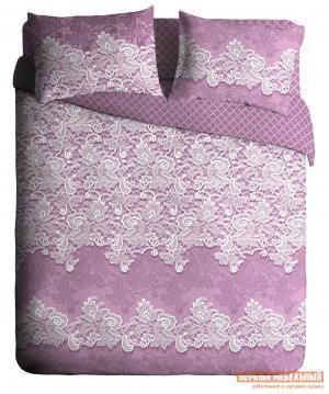 Комплект постельного белья  КПБ Ажур бязь лиловый Лиловый, Евро Павлина. Цвет: фиолетовый