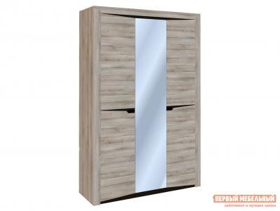 Шкаф распашной  3-х дверный Гарда Ясень Таормино, С узкими и широкими полками СБК. Цвет: светлое дерево