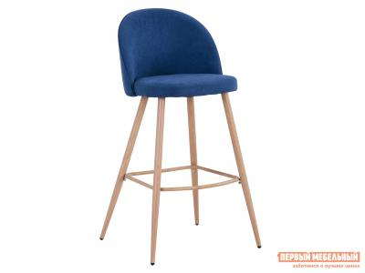 Барный стул  Лион BC-99004 Синий, шенилл / Светлое дерево Stool Group. Цвет: синий