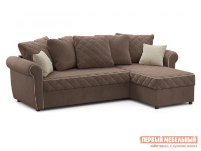 Угловой диван  Догвиль Коричневый, велюр, новый Живые диваны. Цвет: коричневый