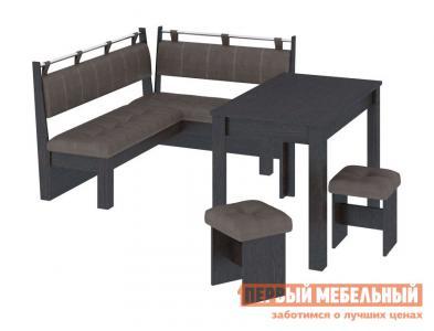 Кухонный уголок  Омега Венге Цаво / Лен коричневый ТриЯ. Цвет: коричневый
