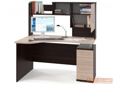 Компьютерный стол  КСТ-104.1 + КН-14 Корпус Венге / Фасад Беленый дуб, Правый Сокол. Цвет: темное-cветлое дерево
