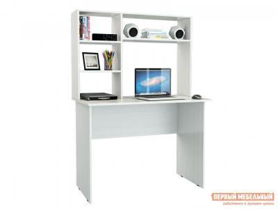 Компьютерный стол  письменный Милан-5 + Надставка Милан-1,3,5,8 Белый МФ Мастер. Цвет: белый
