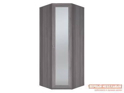 Распашной шкаф  угловой Парма НЕО Лиственница темная / Экокожа дила, С зеркальным фасадом КУРАЖ. Цвет: серый