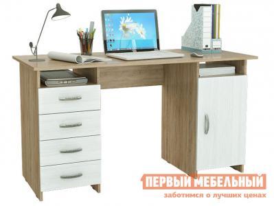 Компьютерный стол  письменный Милан-7 (0120) Дуб сонома / Белый МФ Мастер. Цвет: светлое дерево