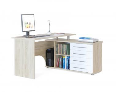 Компьютерный стол  КСТ-109 Дуб Сонома / Белый, Правый Сокол. Цвет: белый