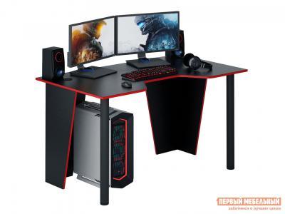 Компьютерный стол  Форсаж-2 Черный с красной кромкой МФ Мастер. Цвет: черный